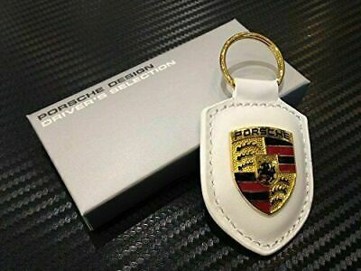 Porsche Crest Keyring Key Chain Leather White New in Packaging