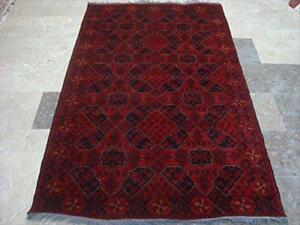 Rectangle Area Rug Khal Muhamadi Fine Afghan Red Hand Knotted Wool Carpet (6.5 x 4.1)'