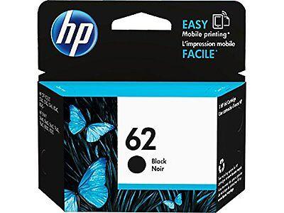 NEW HP 62 Black Original Ink Cartridge (C2P04AN),Exp JAN 2019 longer+2%Ebate