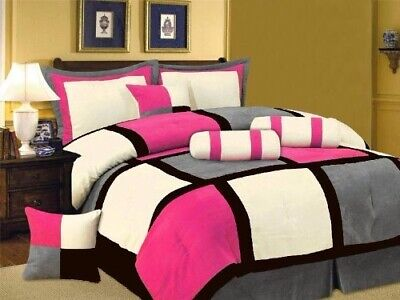 Oversize Pink Black Gray Patchwork Micro Suede Bed in a Bag TWIN Comforter