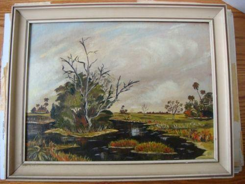 Antique Painting Signed S Over J
