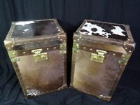 Pair Steamer Handmade English Leather Luggage Box Trunks Coffee Bedside Tables