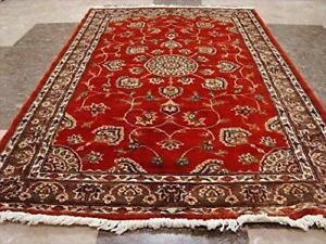 Burnt Orange Rust Floral Medallion Area Rug Hand Knotted Wool Silk Carpet (5 x 3)'
