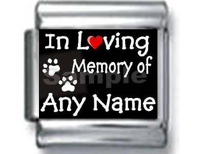 IN LOVING MEMORY OF  'ANY NAME' DOG CAT PAWS PERSONALIZE 9MM ITALIAN CHARM pet