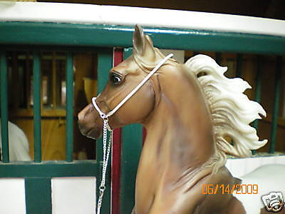 Jaapi WHITE rolled leather Arabian halter - fit Breyer