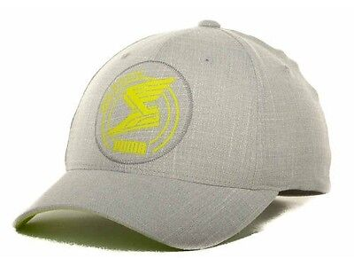 Applique Cap (Puma Applique Winged Sneaker Logo Stretch Fit Gray & Yellow Cap Hat )
