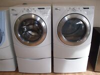 Whirlpool Front Loader Washer ELECTRIC dryer With Pedistals