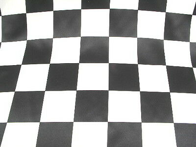 LARGE BLACK WHITE CHECKERED RACE FLAG DULL BRIDAL SATIN FABRIC $6.99/YARD](Checkered Flag Fabric)