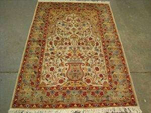 Awesome Tree Life Garden All Over Floral Rectangle Area Rug Wool Silk Hand Knotted Carpet (6 x 4)'