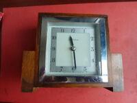 Vintage John Francis Chrome & Wood Mantle Clock Art Deco