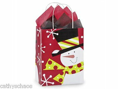 5 Jolly Holiday Snowman Winter Kraft Paper Cub Tissue Paper