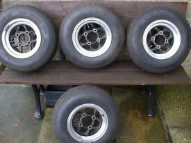 4 X CLASSIC MAMBA MINI ALLOY WHEELS WITH YOKAHOMA TYRES REALLY NICE