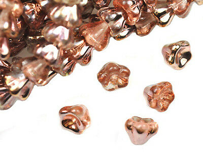 25 Apollo Gold Bell Flower Glass Beads 8Mm