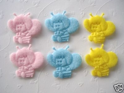 60 Felt Baby Cute Bumble Bee Applique/trim/sewing/craft/Sew on/padded/Pink L60 for sale  Shipping to India
