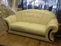 Versace Cream Leather Sofa 3 + 2 + 1(Stock Clearance)