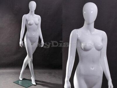 Female Fiberglass Glossy White Mannequin Egg Head Mz-zara6eg