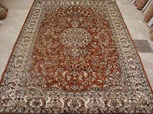 Exclusive Burnt Orange Rust Floral Hand Knotted Area Rug Wool Silk Carpet (9 x 6)'