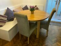 120cm Natural Solid Oak Round Extending Dining Table + 4 Scroll Back Chairs