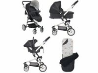 3 in 1 travel system, pram, carrycot, car seat, rain cover