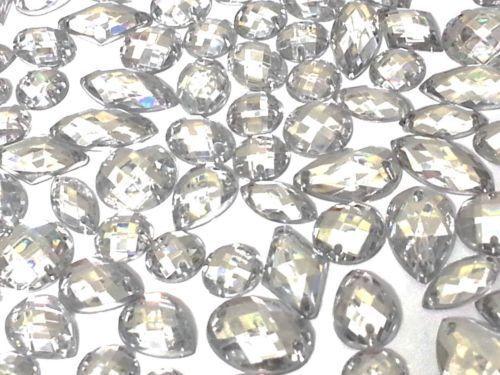 CraftbuddyUS 80 Clear Faceted Acrylic Sew On Diamante Crystal Rhinestone Gems