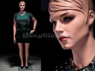 Plus Size Female Fiberglass Mannequin With Molded Hair Dress Form Mz-avis3