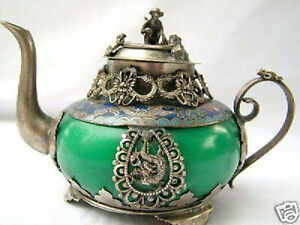 Rare tibetan silver green jade carve dragon teapot monkey on