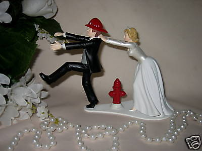 Firefighter Cake Topper (Wedding Reception Ceremony ~Fireman Firefighter~ Bridal Party Sexy Cake)