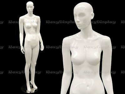 Female Fiberglass Mannequin Glossy White Abstract Fashion Style Mc-anna02