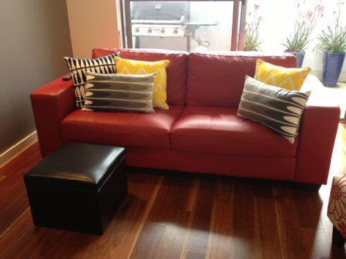 Red Leather Sofa | Ebay