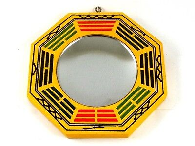 "NEW Protection Cure Negative Energy Traditional 6"" Concave Wood BAGUA Mirror"