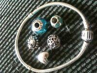 Pandora Bracelet & 5 Charms