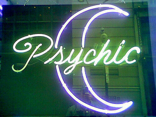 "Psychic Moon Neon Light Sign Lamp 17""x14"" Beer Bar Glass Tube Decor"