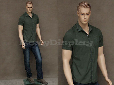 Male Fiberglass Realistic Mannequin With Molded Hair Dress From Display Mz-wen2