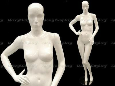 Female Fiberglass Mannequin Glossy White Abstract Fashion Style Mc-anna05