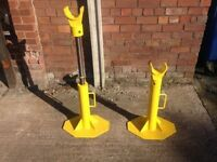 A PAIR OF HEAVY DUTY ADJUSTABLE CABLE JACKS, REEL, STAND, DRUM, PIPE, 3/6 TON?