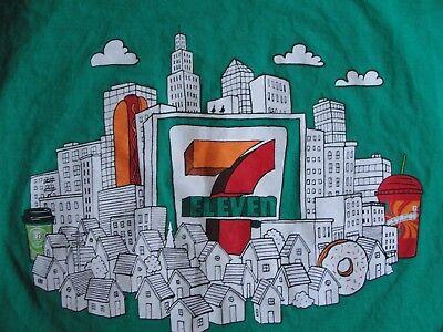 7 Eleven Grand Opening Promo Advertising T Shirt L Large Green Short Sleeve Tee