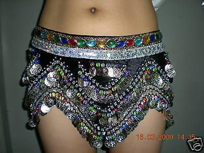 Coloured SILVER Coins &Bead Belly Dance Hip Scarf Dress Belt Skirt Black