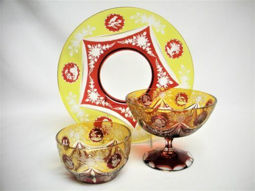 3 pc Set Bohemian Ruby Red Yellow Cut To Clear Glass Plate Bowl Sherbet Antique