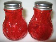 Red Glass Salt and Pepper Shakers