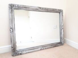 Over-mantle wall mirror, up-cycled pewter silver effect