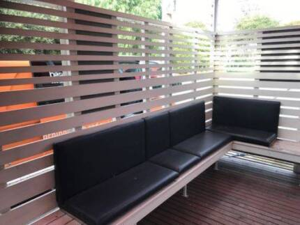 out door black leather bench seating commercial grade