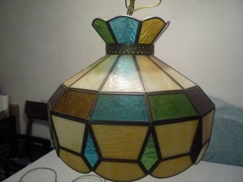 Slag Glass Hanging Lamp Ebay