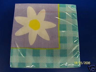 Gingham Daisy Cool Blue Spring Floral Garden Party Paper Beverage Napkins Daisy Beverage Napkin
