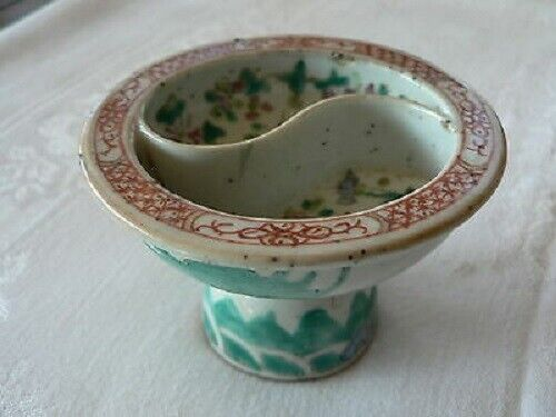 Antique Chinese Famille Stem Cup 19th century Tongzhi / Guangxu