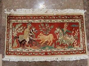 Shikar Gah Horse Hand Knotted Wall Hang Rug Wool Silk Carpet (2.10 x 1.6)'