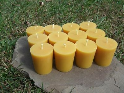 12 - Handmade 100% Beeswax Votive Candles All-Natural, Cotton Wick, great gift!