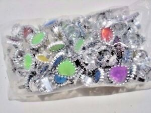 PLASTIC RHINESTONE RINGS (  LOT OF 72 ) CARNIVALS,TOYS, PARTY FAVORS. VENDING