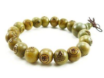 Fragrant 18 10mm Green Sandalwood Carved Buddha Prayer Beads Wrist Mala Bracelet