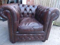 Brown leather club armchair chair