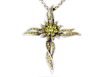 Fashion Cross Sun-Flower Olive Yellow Crystal Rhinestone Necklace Unique Jewelry ()